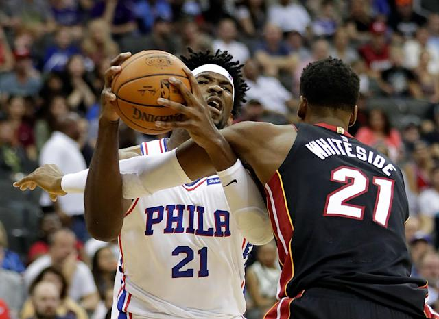 "The Twitter beef is real with <a class=""link rapid-noclick-resp"" href=""/nba/players/5294/"" data-ylk=""slk:Joel Embiid"">Joel Embiid</a> And <a class=""link rapid-noclick-resp"" href=""/nba/players/4764/"" data-ylk=""slk:Hassan Whiteside"">Hassan Whiteside</a>. (Getty)"