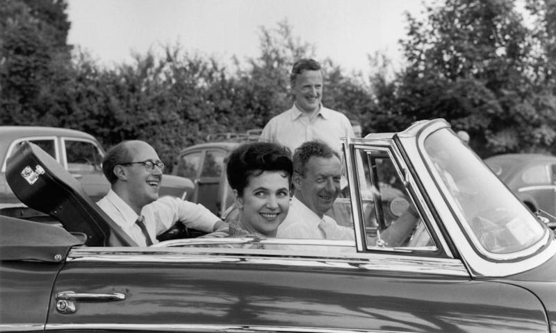 Rostropovich, his wife, Galina, Britten and (in background) the tenor Peter Pears in Aldeburgh for the festival.