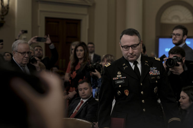 Witness Lt. Col. Alexander Vindeman, National Security Council staffer, enters the House Intelligence Committee hearing on the impeachment inquiry on Capitol Hill in Washington, D.C. on Nov. 19, 2019. Gabriella Demczuk / TIME | Gabriella Demczuk for TIME