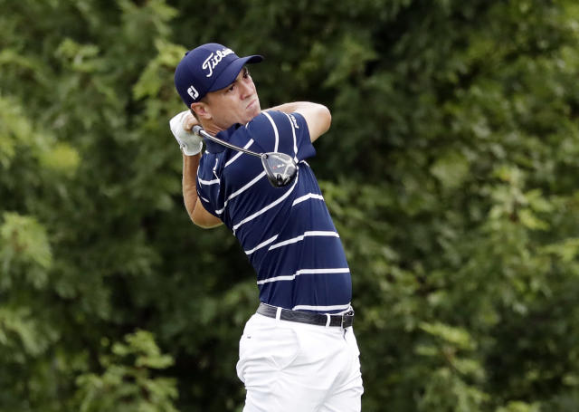 Justin Thomas watches his tee shot on the fifth hole during the first round of the BMW Championship golf tournament at Medinah Country Club, Thursday, Aug. 15, 2019, in Medinah, Ill. (AP Photo/Nam Y. Huh)