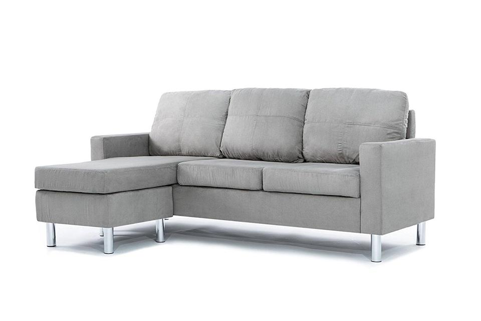 <p>This <span>Divano Roma Microfiber Sectional Sofa</span> ($449) is modern and functional. It also comes in black or white.</p>