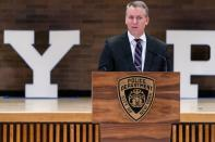 NYPD Commissioner Dermot Shea speaks at a news conference announcing charges against Brandon Elliot, following his arrest for attacking an elderly Asian woman, in New York