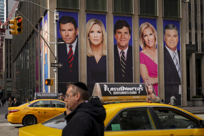 Fox News personalities on display in New York City. (Drew Angerer/Getty Images)