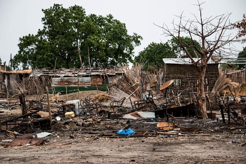 Buildings destroyed during fighting in the town of Melut, in the Upper Nile state of South Sudan, are shown in this World Vision image from on June 13, 2015 (AFP Photo/A. Hamer)