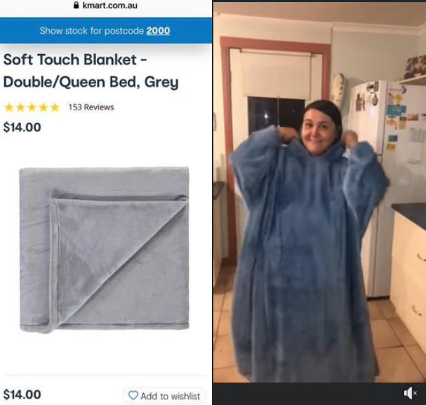 A Kmart Oodie blanket hack have saved one shopper nearly $100. Photo: Facebook (supplied).