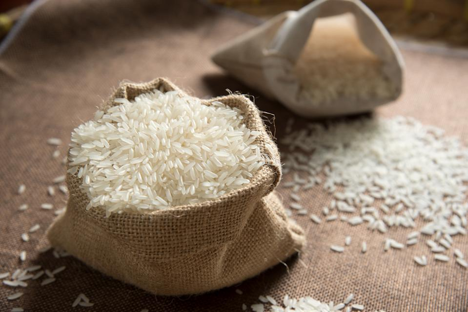 Jasmine rice thailand food. Rice raw grain. Seed rice in sack. Rice food concept.