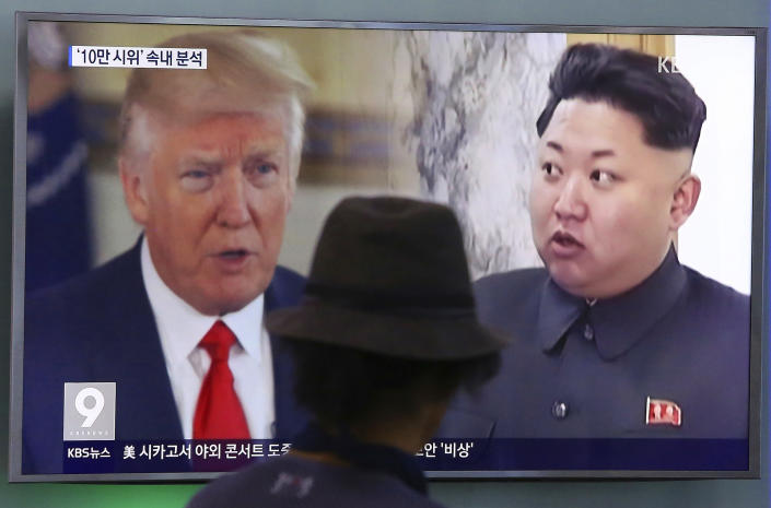 A man watches a TV screen showing President Trump and North Korean leader Kim Jong Un, right, during a news program at the Seoul Train Station in Seoul, South Korea. (Photo: Ahn Young-joon/AP)
