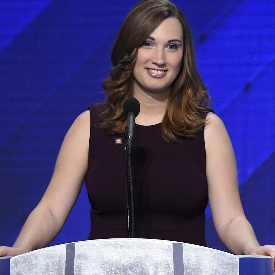 "Sarah McBride addresses delegates on the fourth day of the Democratic National Convention on July 28, 2016 in Philadelphia, Pennsylvania.<span class=""copyright"">Saul Loeb—AFP/Getty Images</span>"
