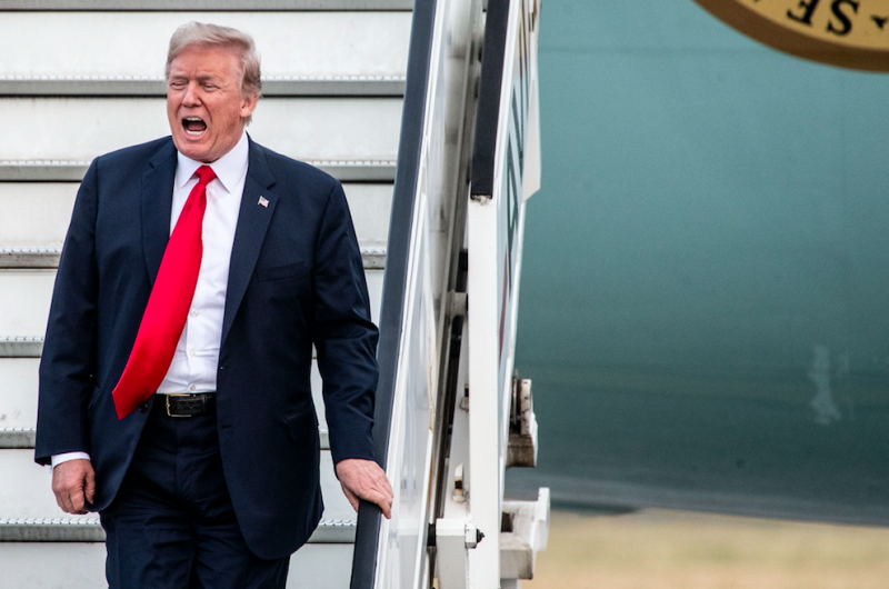 Donald Trump touches down in the United Kingdom  after North Atlantic Treaty Organisation  controversy