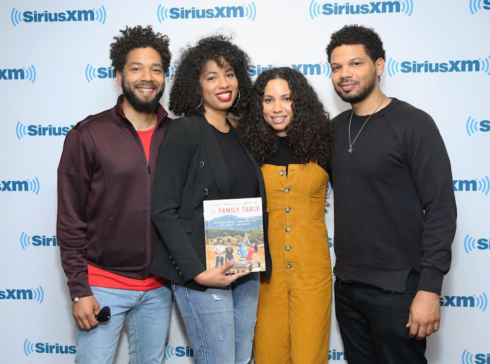 NEW YORK, NY - APRIL 26:  Jussie Smollett, Jazz Smollett-Warwell, Jurnee Smollett-Bell and Jake Smollett visit at SiriusXM Studios on April 26, 2018 in New York City.  (Photo by Robin Marchant/Getty Images)