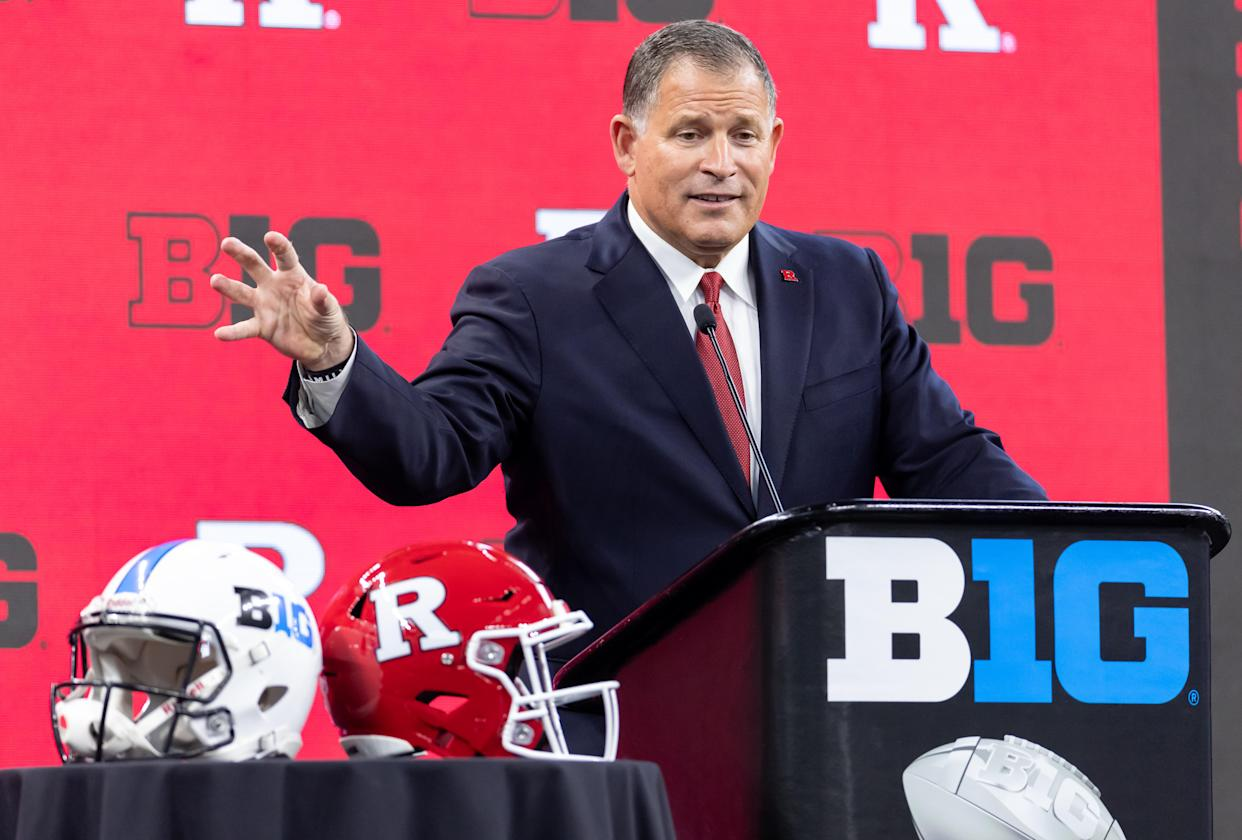Rutgers coach Greg Schiano speaks during Big Ten football media day on July 23. (Michael Hickey/Getty Images)