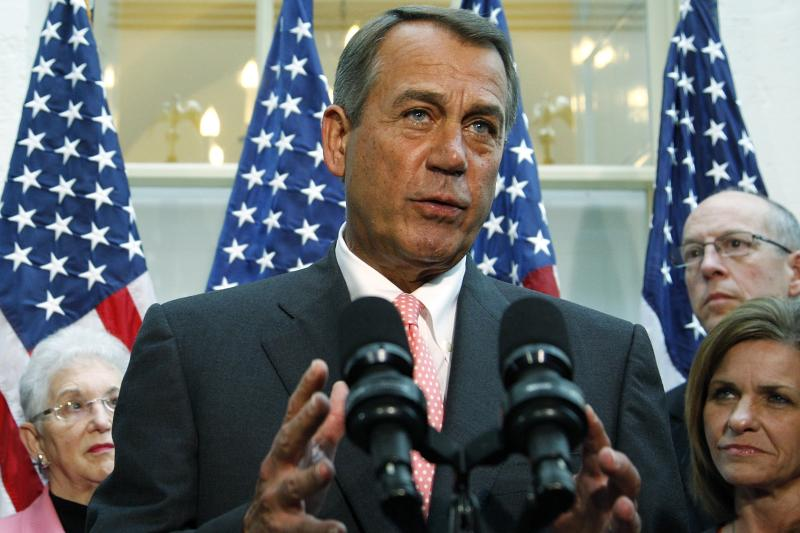 Boehner addresses reporters at the U.S. Capitol in Washington