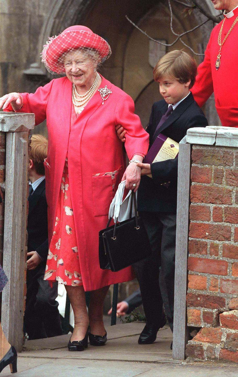 <p>The young prince who would have been 9 years old at the time, helping his Great Grandmother up the steps outside St. George's Chapel in Windsor Castle in April 1992.</p>