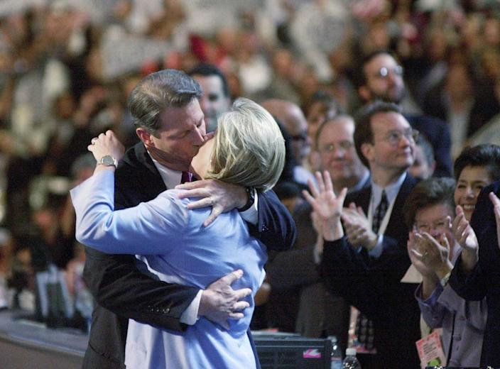 Democratic presidential nominee Al Gore kisses his wife Tipper onstage at the Democratic National Convention at the Staples Center in Los Angeles on Aug. 17, 2000.