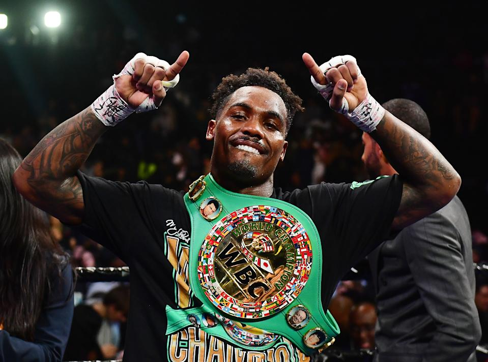 NEW YORK, NEW YORK - DECEMBER 07: Jermall Charlo of the United States celebrates his WBC World Middleweight Championship against Dennis Hogan of Ireland at Barclays Center on December 07, 2019 in the Brooklyn borough of New York City. (Photo by Emilee Chinn/Getty Images)