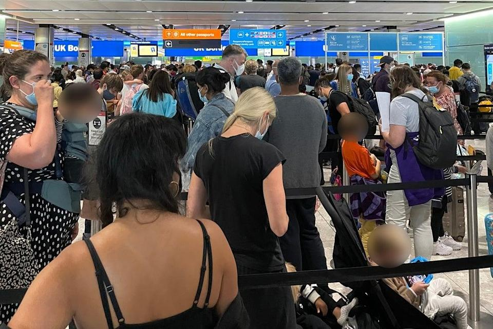 Some passengers faced four hour queues during the bank holiday weekend (Twitter)