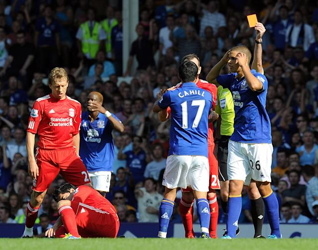 LIVERPOOL, ENGLAND - OCTOBER 01: (THE SUN OUT) Jack Rodwell of Everton gets a red card for a foul on Luis Suarez of Liverpool in action during the Barclays Premier League match between Everton and Liverpool at Goodison Park on October 1, 2011 in Liverpool, England. (Photo by Andrew Powell/Liverpool FC via Getty Images)