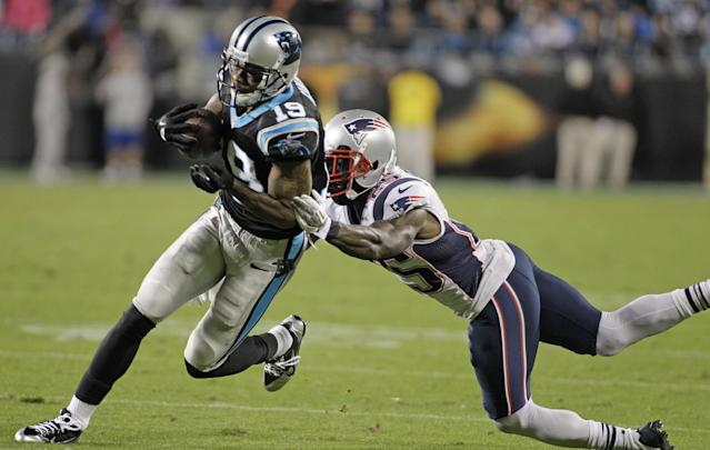 FILE - In this Nov. 18, 2013 file photo, Carolina Panthers' Ted Ginn (19) runs past New England Patriots' Kyle Arrington (25) for a touchdown during the second half of an NFL football game in Charlotte, N.C. Ginn caught the winning touchdown pass in Carolina's 24-20 win over the New England Patriots on Monday. (AP Photo/Bob Leverone, File)