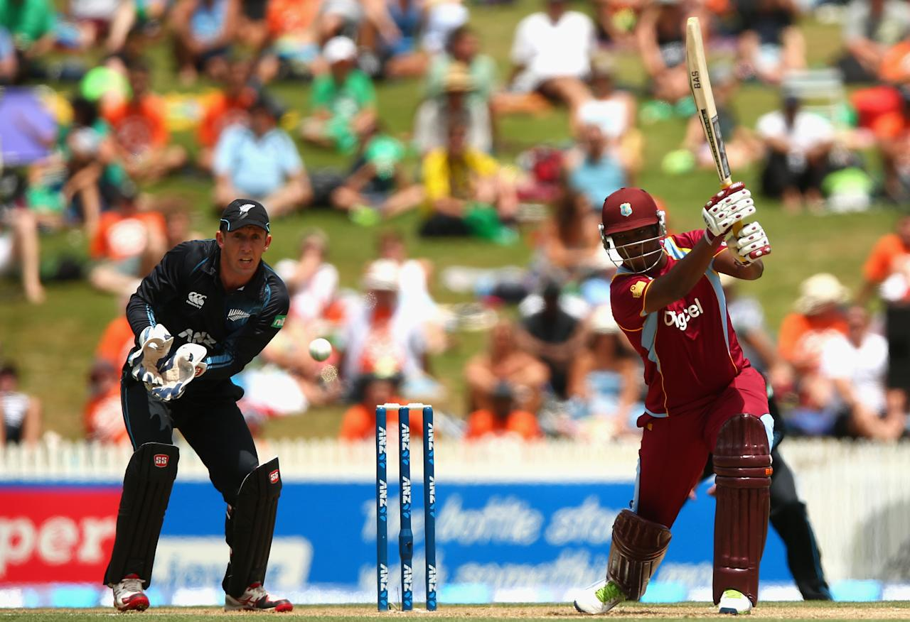 HAMILTON, NEW ZEALAND - JANUARY 08: Johnson Charles of the West Indies bats during game five of the One Day International Series between New Zealand and the West Indies at Seddon Park on January 8, 2014 in Hamilton, New Zealand.  (Photo by Phil Walter/Getty Images)