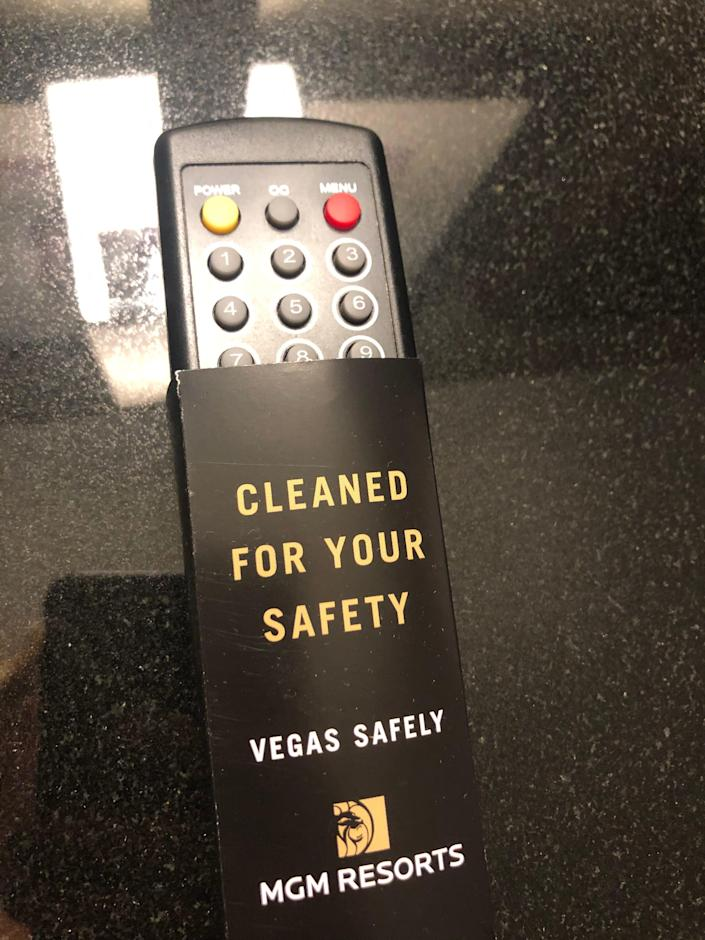 The television remote control at New York-New York Hotel & Casino in Las Vegas now comes with a little protection amid the coronavirus pandemic.