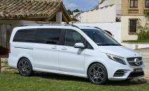 On the outside, this is the facelifted V-Class but looks sharper. It is huge (5m plus) with a massive presence. There is a new grille, LED headlamps and a dinner-plate sized three-pointed star logo.