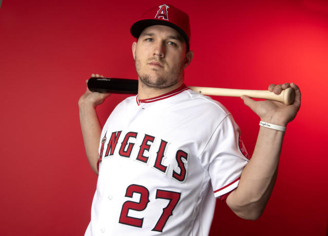 """Angels star <a class=""""link rapid-noclick-resp"""" href=""""/mlb/players/8861/"""" data-ylk=""""slk:Mike Trout"""">Mike Trout</a> gets ready for his age-27 season. He's once again the top pick in fantasy drafts. (Keith Birmingham/Getty Images)"""