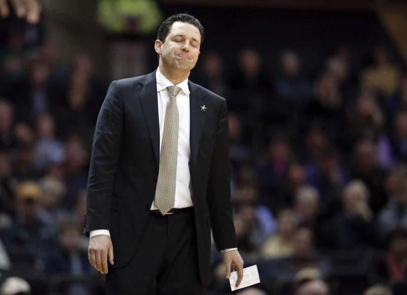 FILE - In this Jan. 19, 2019, file photo, Vanderbilt head coach Bryce Drew reacts to a call in an NCAA college basketball game against Mississippi State in Nashville, Tenn. Drew was fired Friday, March 22 after the worst season in the history of Vanderbilt men's basketball. Vanderbilt went 9-23 and was the first team in 65 years to go winless in the Southeastern Conference. Drew went 40-59 record in three seasons with the Commodores. (AP Photo/Mark Humphrey, File)