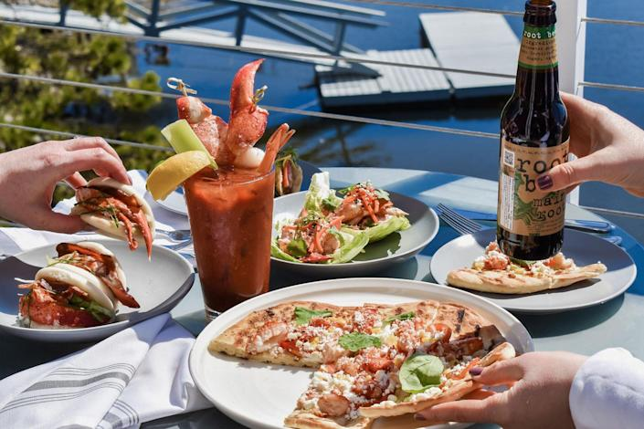 lobster flat bread with bloody mary