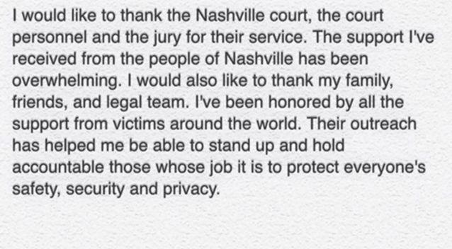 Erin Andrews posted this on Twitter after the judgement. Photo: Twitter