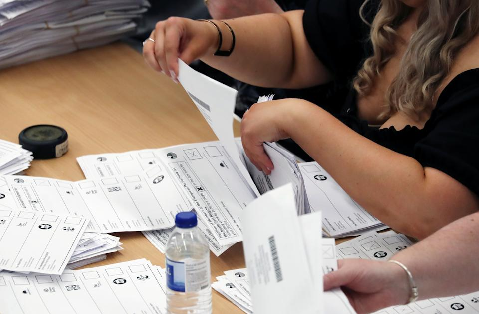 Ballots are tallied at a counting centre for the European Parliamentary election in Sunderland, Britain, May 26, 2019. REUTERS/Scott Heppell