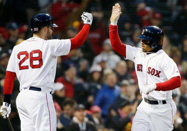 Red Sox sluggers J.D. Martinez (left) and Mookie Betts (right) will not be participating in the 2018 Home Run Derby. (AP)