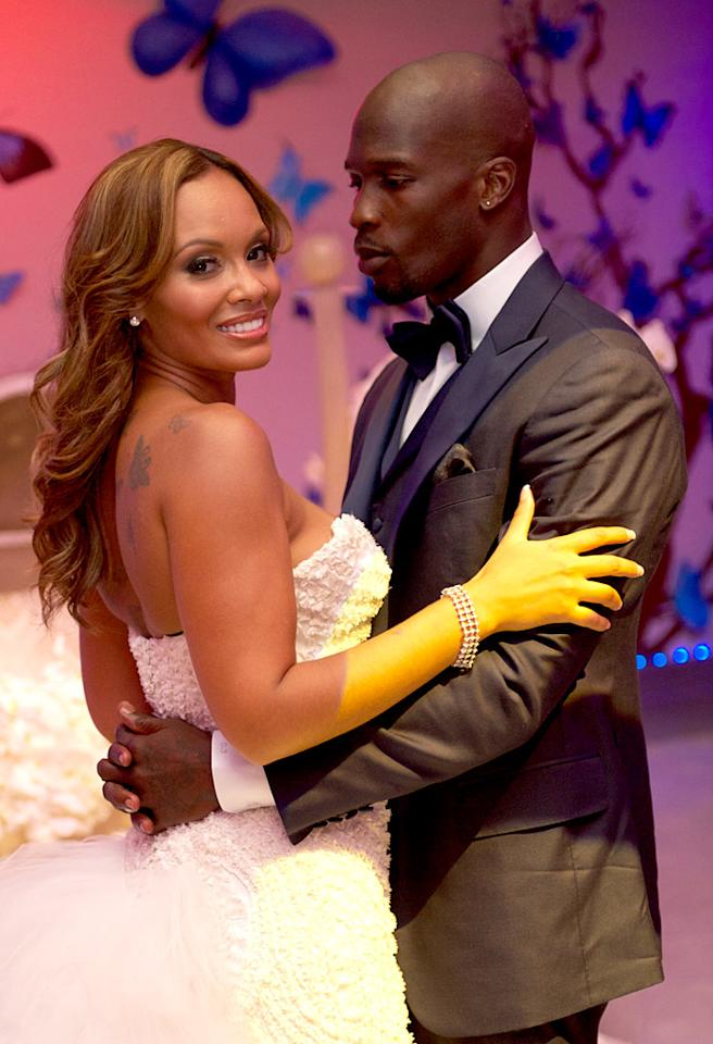ST MAARTEN, NETHERLANDS ANTILLES - JULY 04:  Chad Ochocinco and Evelyn Lozada marry at Le Chateau des Palmiers on July 4, 2012 in St. Maarten, Netherlands Antillies.  (Photo by Mike Colon/LO/Getty Images)