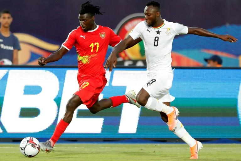 Ghana Olympic Games qualifying tournament hero Owusu Kwabena (R) playing against Guinea-Bissau in the 2019 Africa Cup of Nations