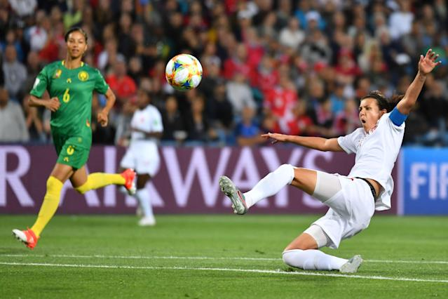 Canada's forward Christine Sinclair (R) tries to control the ball during the France 2019 Women's World Cup Group E football match between Canada and Cameroon, on June 10, 2019, at the Mosson Stadium in Montpellier, southern France. (Photo by Pascal GUYOT / AFP) (Photo credit should read PASCAL GUYOT/AFP/Getty Images)