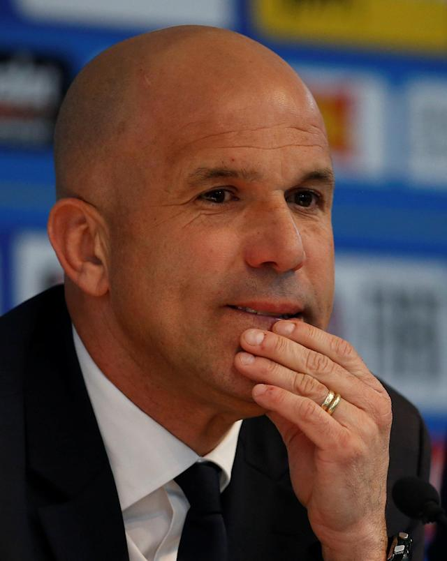 Soccer Football - Italy Press Conference - Etihad Stadium, Manchester, Britain - March 22, 2018 Italy interim coach Luigi Di Biagio during the press conference Action Images via Reuters/Craig Brough