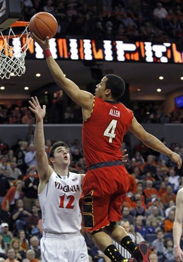 Maryland guard Seth Allen shoots over Virginia guard Joe Harris in the first half of an NCAA college basketball game in Charlottesville, Va., Sunday, March 10, 2013. (AP Photo/Norm Shafer)