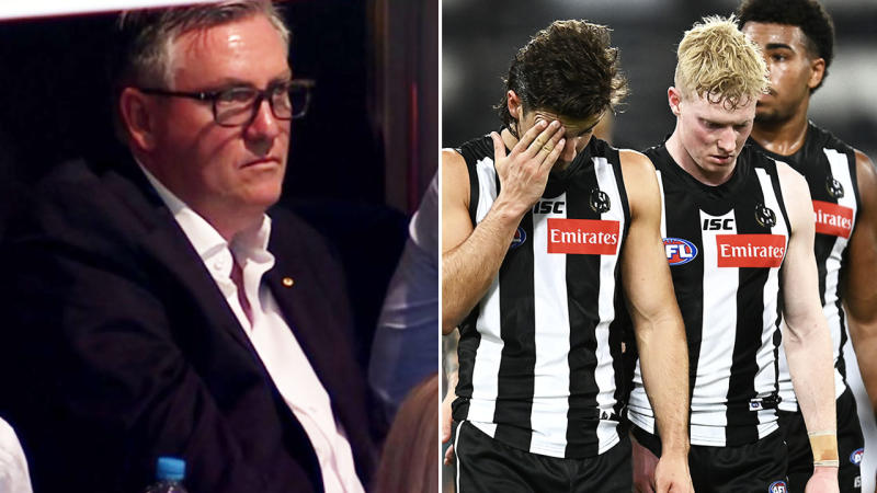 Eddie McGuire and Collingwood players, pictured here completely devastated.
