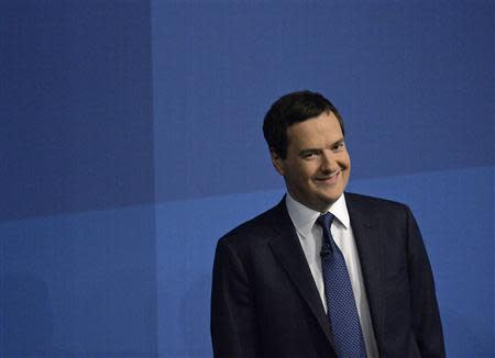 Britain's Chancellor of the Exchequer George Osborne waits to deliver his keynote speech at the annual Conservative party conference in Manchester, northern England