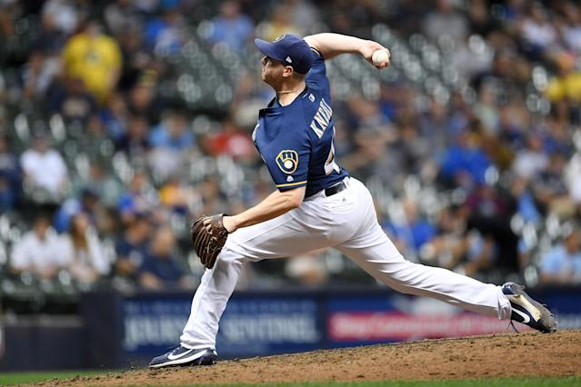 Corey Knebel locked down the late innings for the Brewers in 2017. (Photo by Stacy Revere/Getty Images)