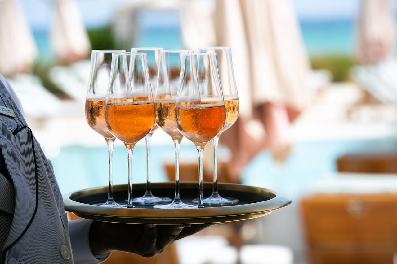 <p>Guests were treated to sparkling rose and champagne upon arrival at the private gathering  </p>