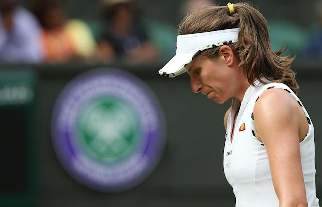 Johanna Konta during her match against Barbora Strycova at Wimbledon. (Photo by Rob Newell - CameraSport via Getty Images)