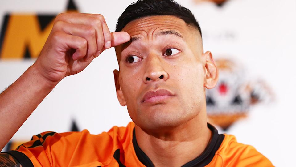 Israel Folau, pictured here during a press conference in Brisbane.