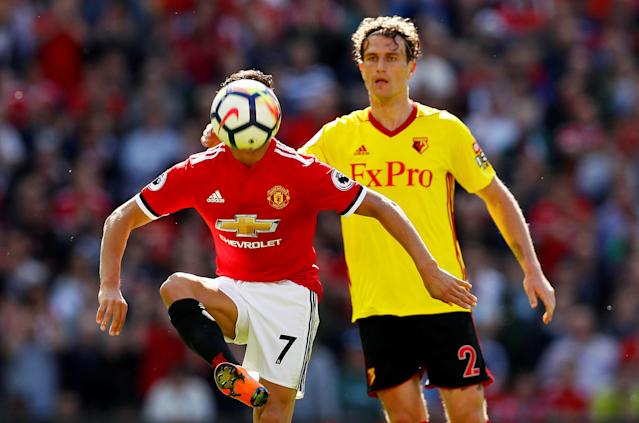 "Soccer Football - Premier League - Manchester United vs Watford - Old Trafford, Manchester, Britain - May 13, 2018 Manchester United's Alexis Sanchez in action with Watford's Daryl Janmaat Action Images via Reuters/Jason Cairnduff EDITORIAL USE ONLY. No use with unauthorized audio, video, data, fixture lists, club/league logos or ""live"" services. Online in-match use limited to 75 images, no video emulation. No use in betting, games or single club/league/player publications. Please contact your account representative for further details. TPX IMAGES OF THE DAY"