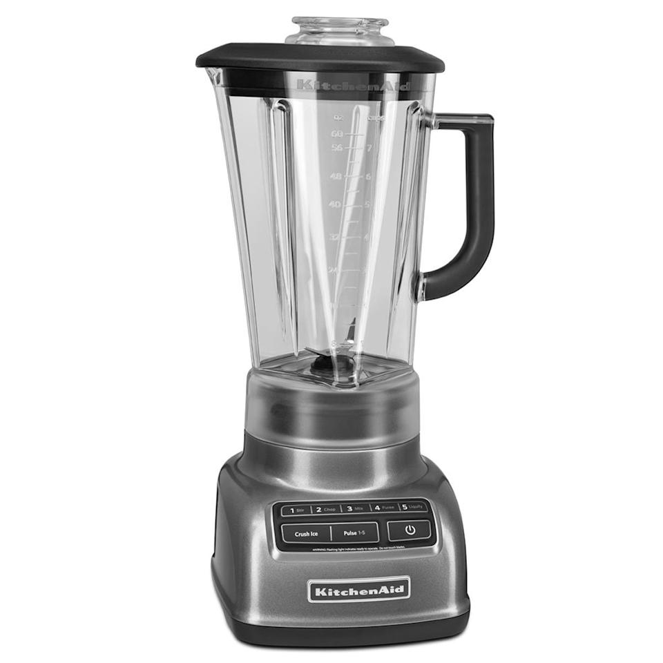 """<p>This blender is essential for whipping up your favorite piña colada or daiquiri recipes, and the shatterproof 60 oz. glass pitcher is also dishwasher safe for easy cleanup.</p> <p><em>KitchenAid 5-Speed Diamond Blender, $129 at <a href=""""https://www.amazon.com/KitchenAid-KSB1575ER-5-Speed-60-Ounce-BPA-Free/dp/B00FZ1JR6M/ref=as_li_ss_tl?th=1&linkCode=ll1&tag=fwcocktailgifts0719-20&linkId=d5036137d9581f717dd88334fdd5895e"""" target=""""_blank"""">amazon.com</a></em></p>"""