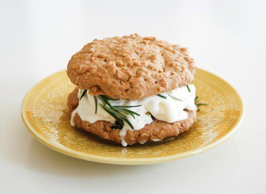 """Fresh herbs bring lively flavors to sweets -- and ice cream is no exception. Rosemary is a good option, though thyme would be delicious as well. <strong>Get the <a href=""""http://www.oldbrandnewblog.com/2011/05/kitchen-concoctions-rosemary-ice-cream.html"""" rel=""""nofollow noopener"""" target=""""_blank"""" data-ylk=""""slk:Rosemary Ice Cream Sandwich recipe"""" class=""""link rapid-noclick-resp"""">Rosemary Ice Cream Sandwich recipe</a> by Old Brand New</strong>"""