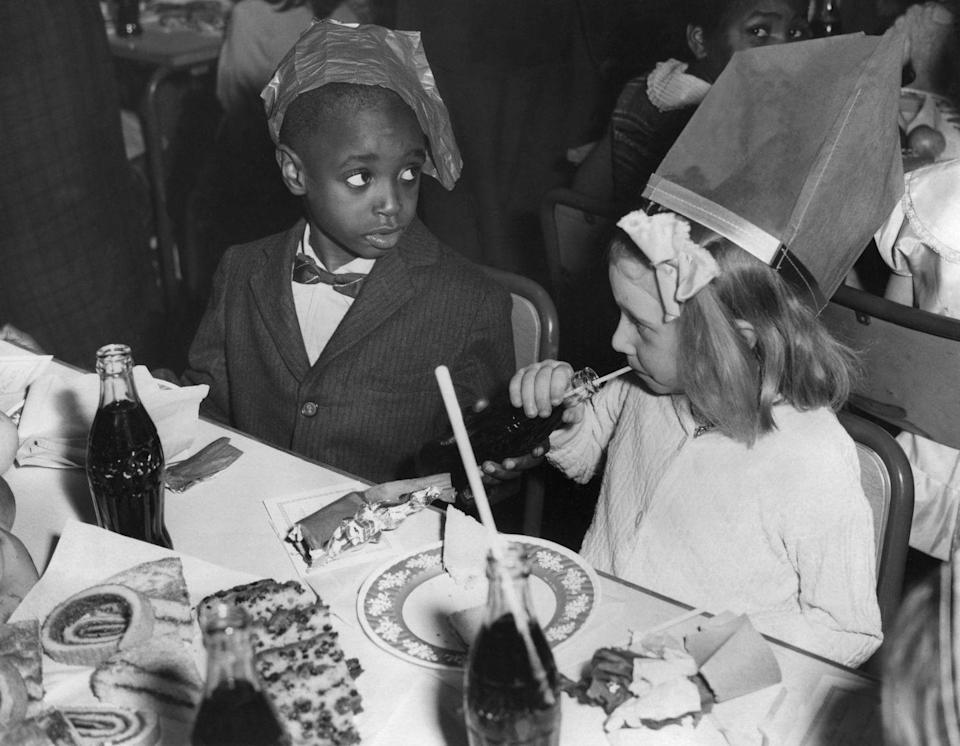 <p>Kids weren't often on the guest list at dinner parties back in the day. Instead, their dinner would be served before guests arrived and they would be sent to their bedrooms to play. Or, if they were invited, they sat at the kids' table.</p>
