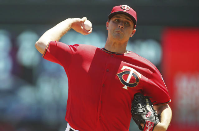 Minnesota Twins pitcher Jake Odorizzi throws against the Baltimore Orioles in the first inning of a baseball game Sunday, July 8, 2018, in Minneapolis. (AP Photo/Jim Mone)