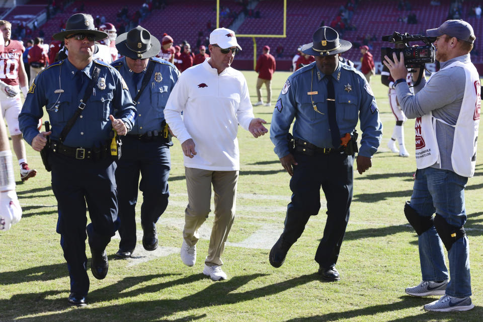 Arkansas fired head coach Chad Morris on Sunday. He had a 4-18 record at the school. (AP Photo/Michael Woods)