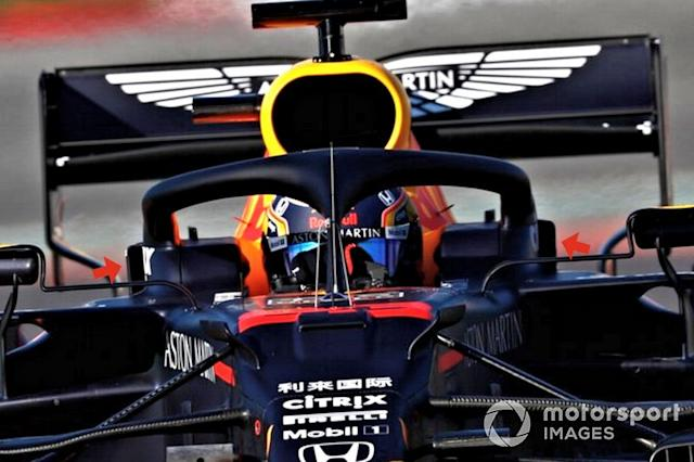 """Red Bull Racing RB16 halo ducts <span class=""""copyright"""">LAT Images</span>"""
