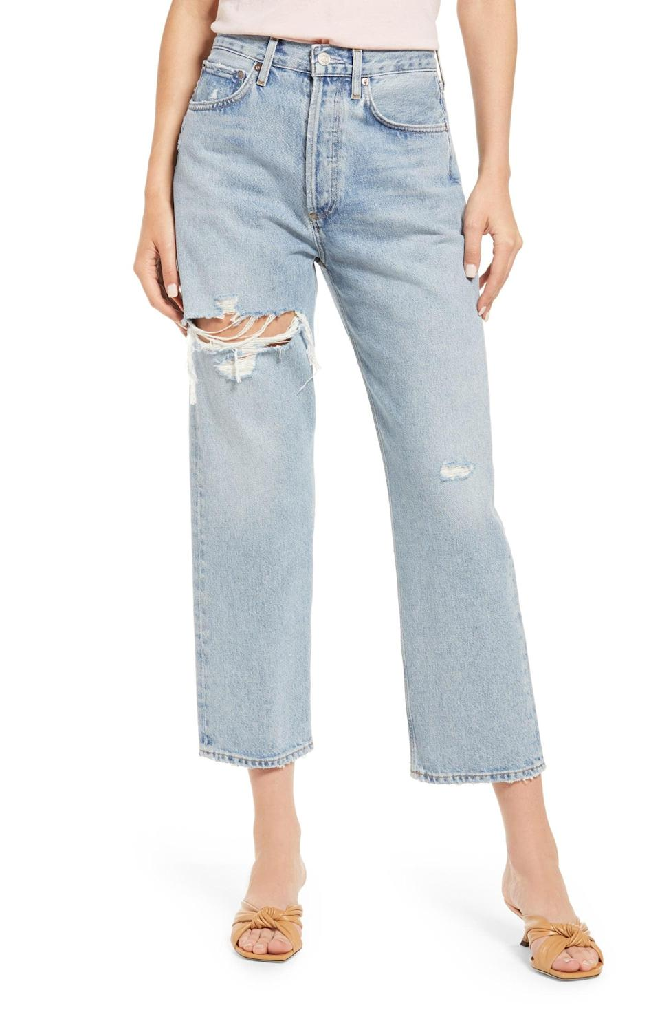 """<p>I can't stop raving about Agolde denim. I own <a href=""""https://www.popsugar.com/fashion/agolde-jeans-review-48227258"""" class=""""link rapid-noclick-resp"""" rel=""""nofollow noopener"""" target=""""_blank"""" data-ylk=""""slk:several pairs"""">several pairs</a>, and I would add these <span>Agolde '90s Ripped Crop Loose Fit Jeans</span> ($198) to my closet in a heartbeat.</p>"""